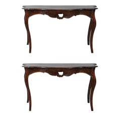 Pair of Large Rococo 18th Century Walnut Consoles, Italy