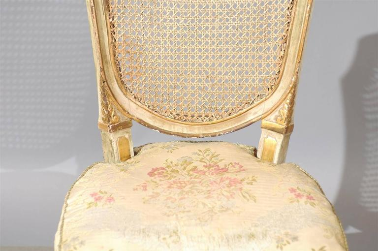 Set of Six 19th Century Italian Neoclassical Style Painted & Cane Dining Chairs For Sale 5