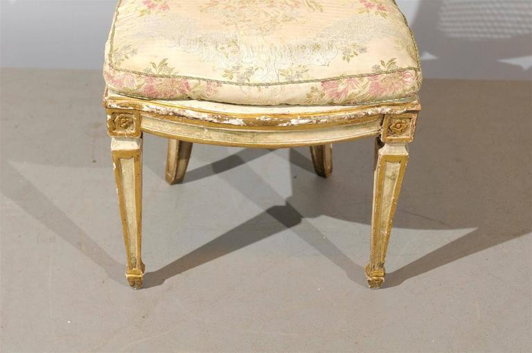 Set of Six 19th Century Italian Neoclassical Style Painted & Cane Dining Chairs For Sale 4