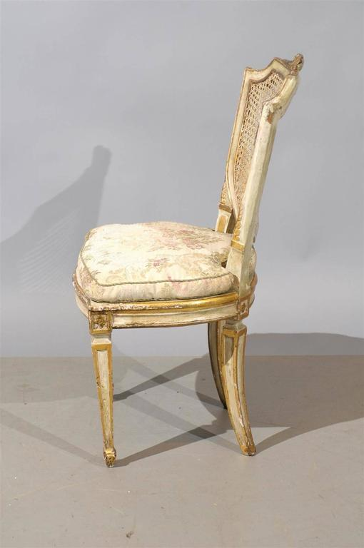 Set of Six 19th Century Italian Neoclassical Style Painted & Cane Dining Chairs For Sale 1