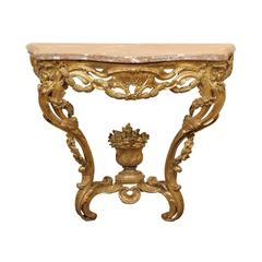18th Century French Louis XV Giltwood Console