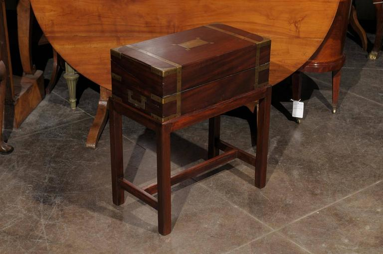 wood lap table english lap desk writing box with brass accents and custom stand