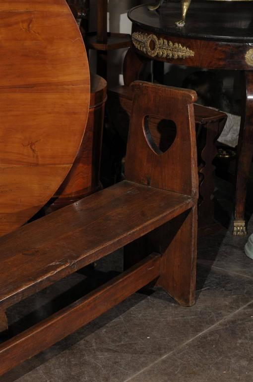 Narrow Tuscan Italian Wooden Bench with Stretcher from the Early 19th century For Sale 5