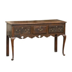 English Late 18th Century Oak Server with Three Drawers and Cabriole Legs