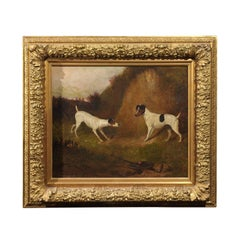 English 19th Century Oil Painting of Terriers Dogs by Artist Colin Graeme Roe