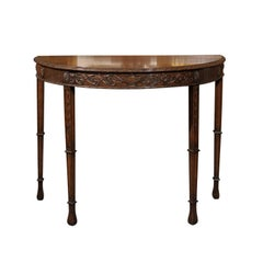 English Turn of the Century Wooden Demi-Lune Table with Carved Apron