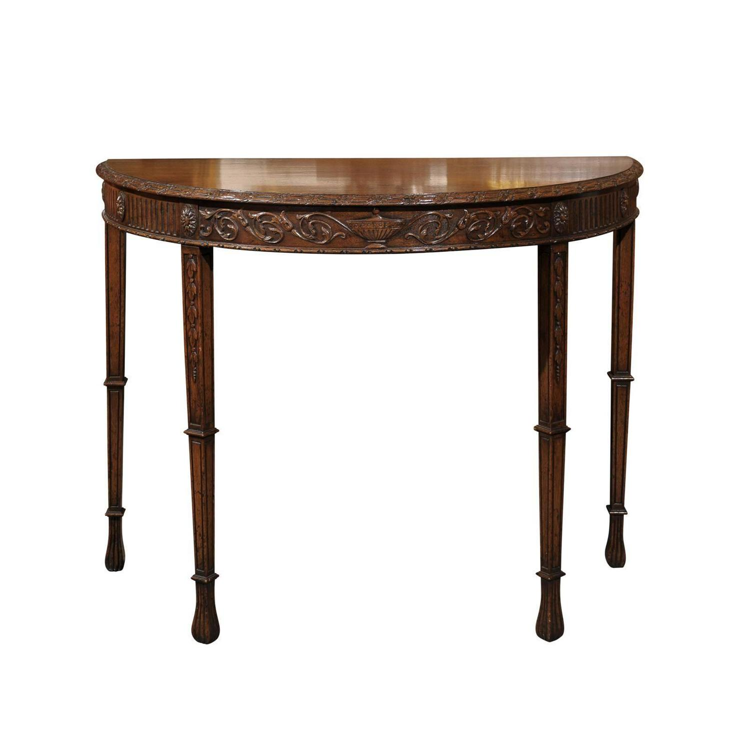 english demilune table for sale at 1stdibs. Black Bedroom Furniture Sets. Home Design Ideas