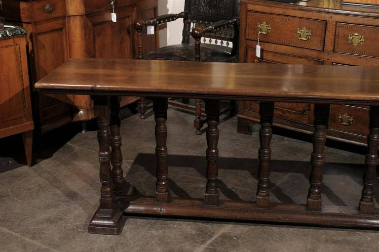 Italian Early 19th Century Walnut Console Table with Unusual Trestle Base 2