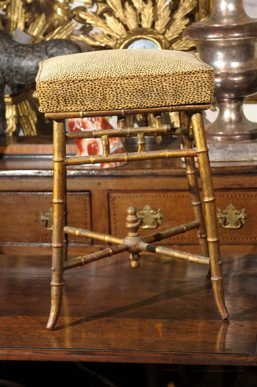 Italian Gilt Iron Faux Bamboo Stool With Animal Print