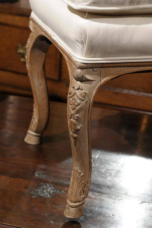 French Carved Walnut Upholstered Stool With Cushion From