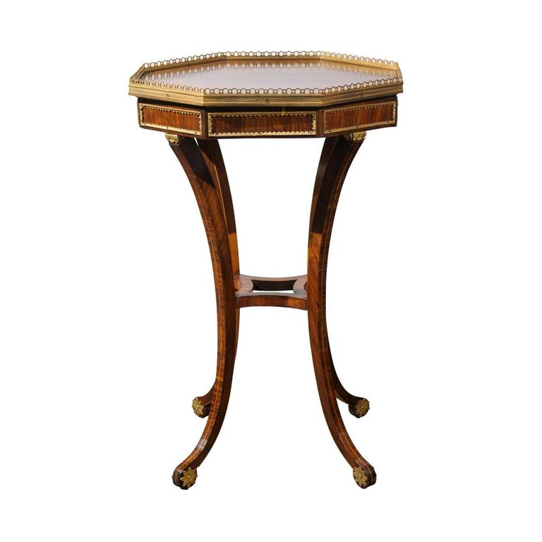 English regency rosewood veneered octagonal side table