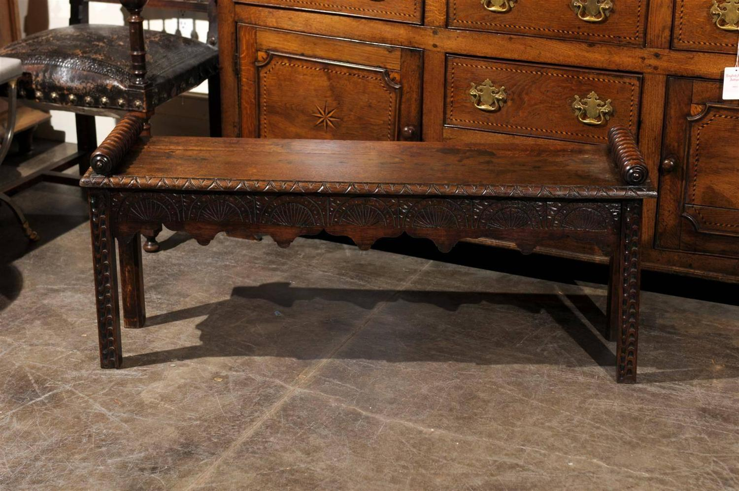English oak carved bench for sale at stdibs