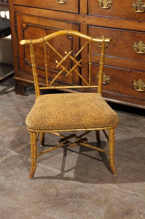 French Chinese Chippendale Style Stool With Back From The