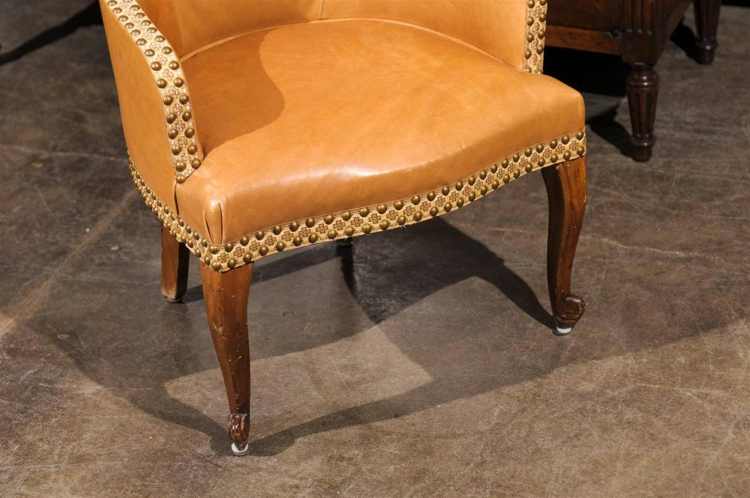 French Leather Slipper Chair at 1stdibs