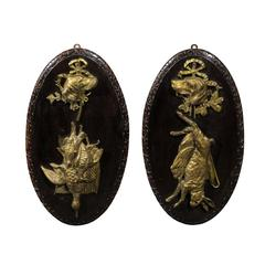 Pair of Bronze and Wood Hunting Plaques with Dogs and Game