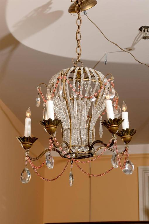 French five light balloon shape crystal and glass chandelier with colored beads for sale at 1stdibs - Chandelier glass beads ...