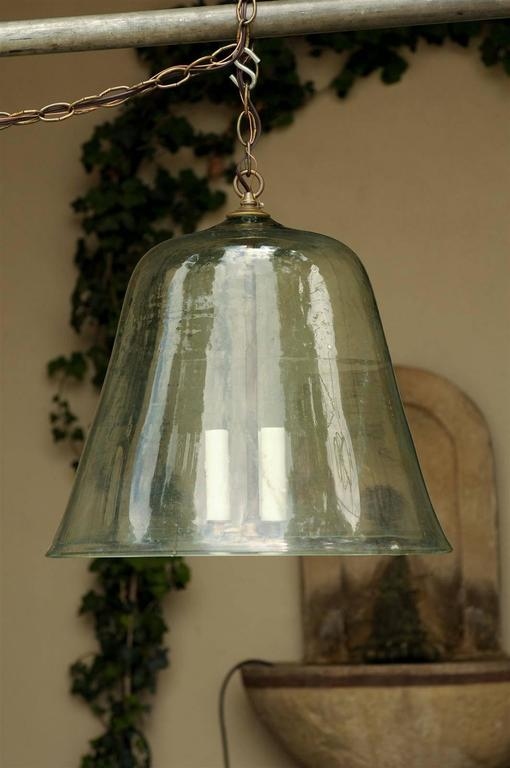 French Turn Of The Century Three Light Cloche Bell Jar