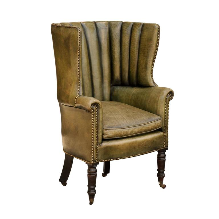 1870 English Library Barrel Wingback Chair In Green Leather Upholstery For  Sale
