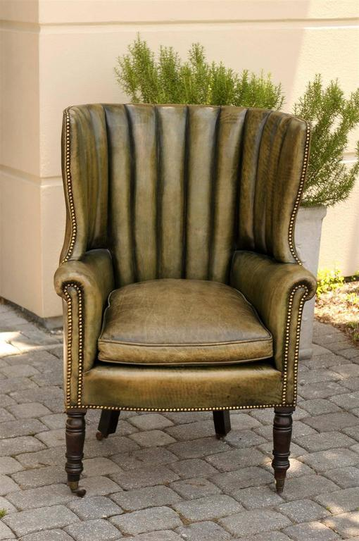 1870 English Library Barrel Wingback Chair In Green