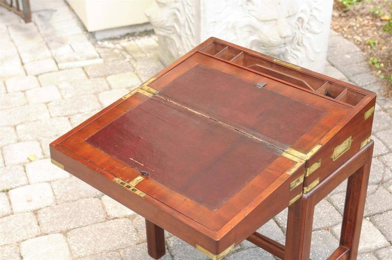 English 19th Century Mahogany Lap Desk Box On Stand With
