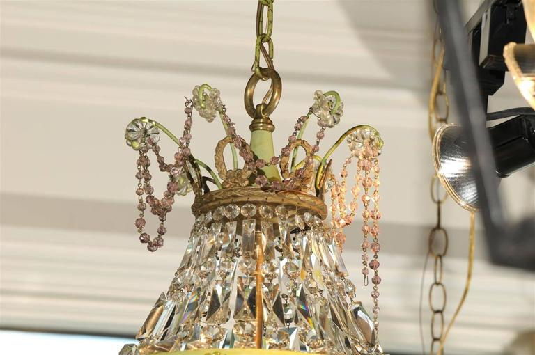 20th Century French Basket Shaped Crystal Chandelier with Accents of Amethyst Color Crystals For Sale