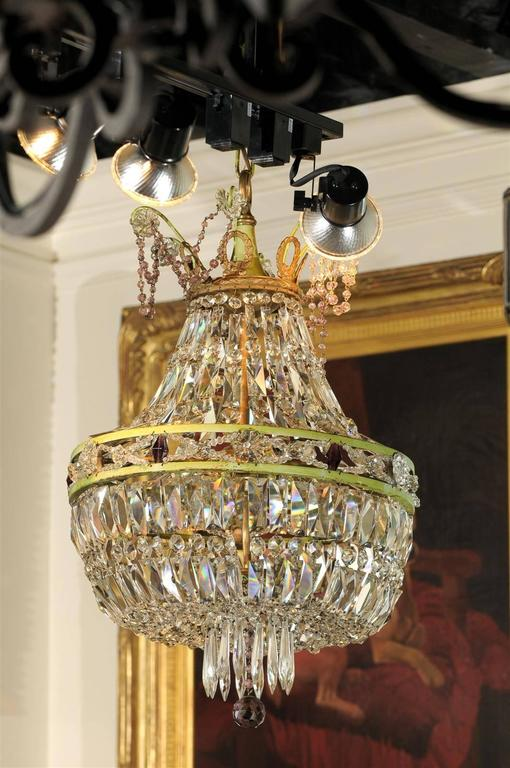 Metal French Basket Shaped Crystal Chandelier with Accents of Amethyst Color Crystals For Sale