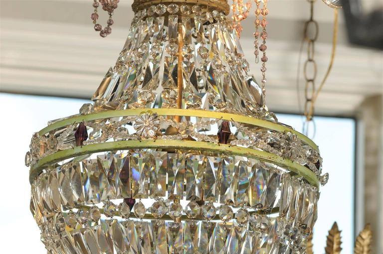 French Basket Shaped Crystal Chandelier with Accents of Amethyst Color Crystals For Sale 2