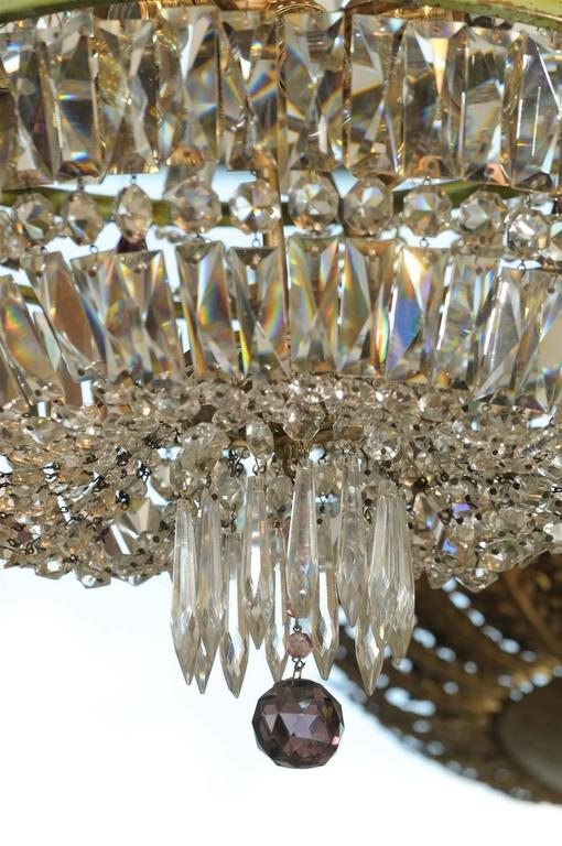 French Basket Shaped Crystal Chandelier with Accents of Amethyst Color Crystals For Sale 1