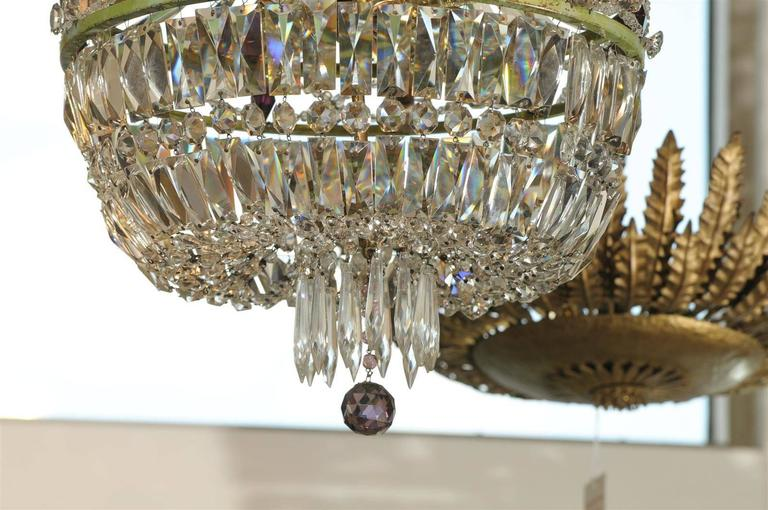 French Basket Shaped Crystal Chandelier with Accents of Amethyst Color Crystals For Sale 3