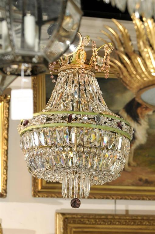 French Basket Shaped Crystal Chandelier with Accents of Amethyst Color Crystals For Sale 4