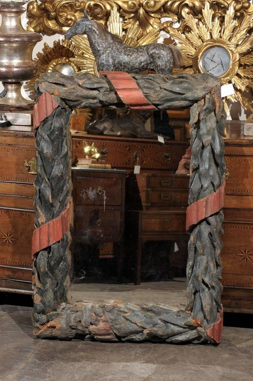 French 1870s Large Black Forest Wood Carved Mirror With