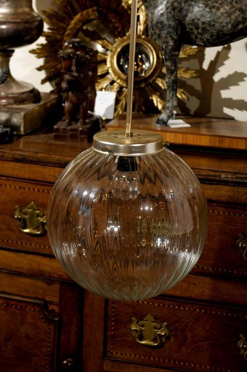 Vintage Belgian Glass Single Light Globe Pendant with Metal Rod For ...