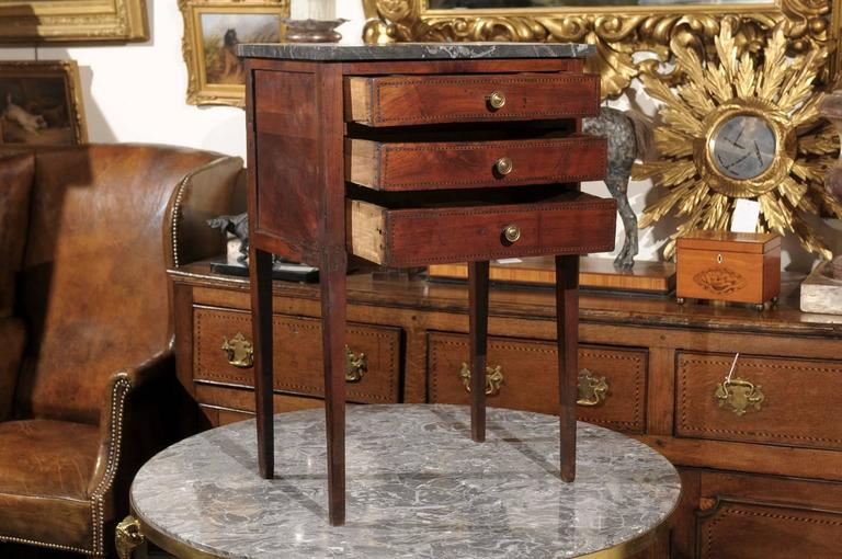 Mid-19th Century Petite French Three-Drawer Commode, Grey Marble Top and Banding 5