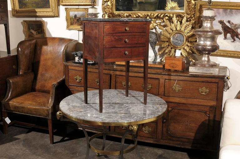 Mid-19th Century Petite French Three-Drawer Commode, Grey Marble Top and Banding 3