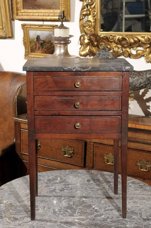 Mid-19th Century Petite French Three-Drawer Commode, Grey Marble Top and Banding 8
