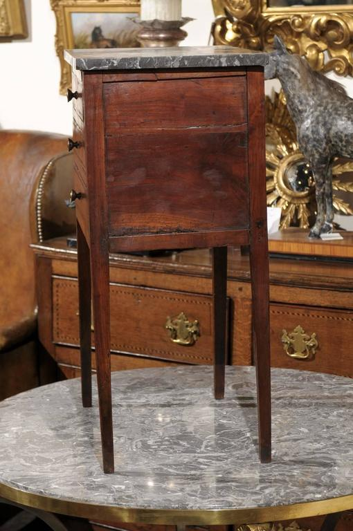 Mid-19th Century Petite French Three-Drawer Commode, Grey Marble Top and Banding For Sale 5