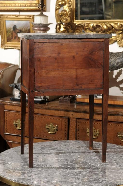 Mid-19th Century Petite French Three-Drawer Commode, Grey Marble Top and Banding 10