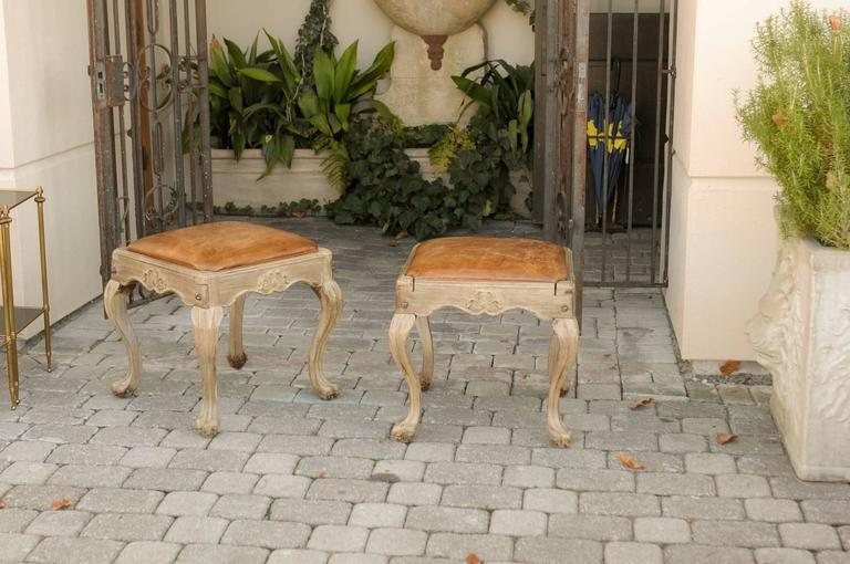 Pair Of Louis Xv Style Wooden Stools With Warm Leather