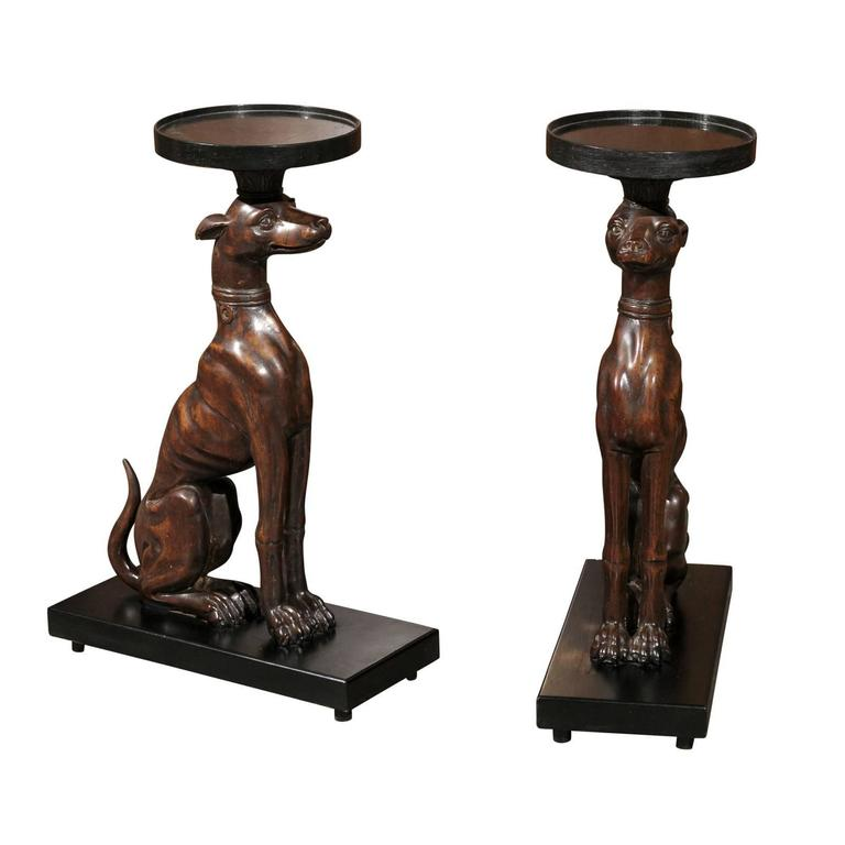 Th century english pair of carved wood greyhound side