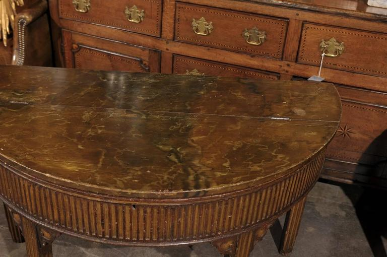 Wood Pair of English Neoclassical Style 1880s Painted Demi-Lune Tables with Lift Tops For Sale