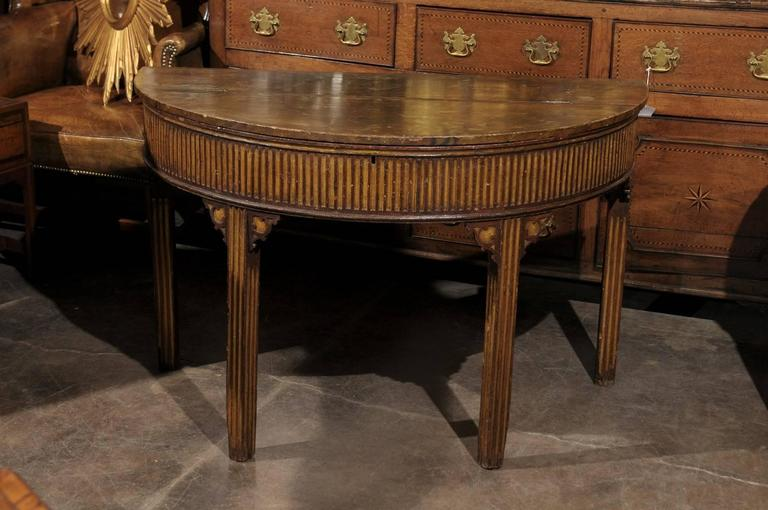 Pair of English Neoclassical Style 1880s Painted Demi-Lune Tables with Lift Tops In Good Condition For Sale In Atlanta, GA