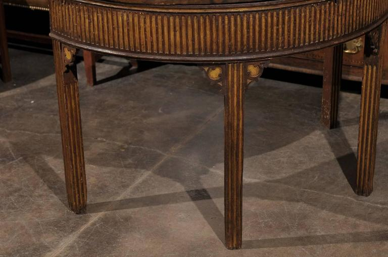 Pair of English Neoclassical Style 1880s Painted Demi-Lune Tables with Lift Tops For Sale 1