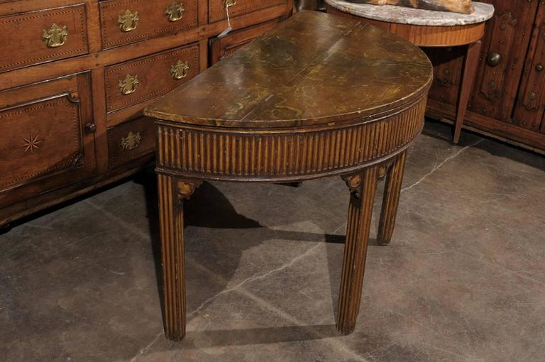 Pair of English Neoclassical Style 1880s Painted Demi-Lune Tables with Lift Tops For Sale 5