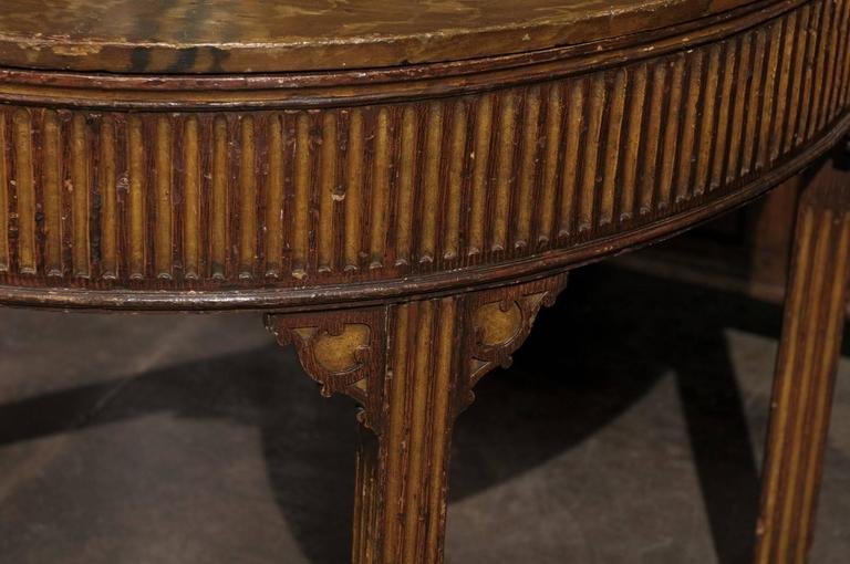 Pair of English Neoclassical Style 1880s Painted Demi-Lune Tables with Lift Tops For Sale 4