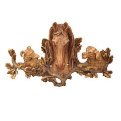 Architectural Wood Carved Horse Head with Dog Heads