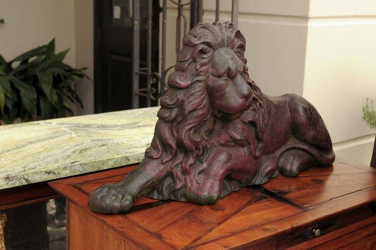 19th Century 19th century Victorian English Cast-Iron Lion Doorstop with Old Red Patina For Sale