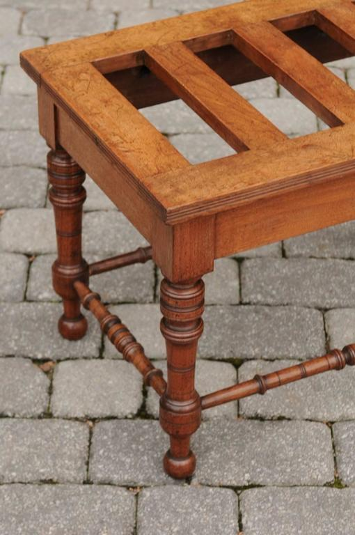 Wood English Mahogany Luggage Rack from the Late 19th Century with Turned Legs For Sale