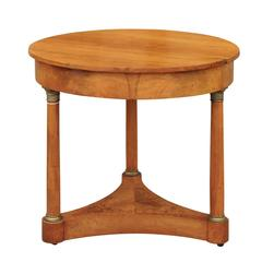 Austrian Biedermeier Mid-19th Century Round Center Table with Column Legs