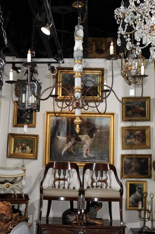 Italian large early 20th century six light wood and iron candelabra gilt italian large early 20th century six light wood and iron candelabra chandelier for sale aloadofball Image collections