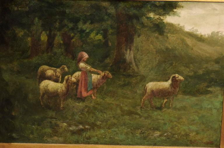 20th Century Large Antique Oil Painting of Sheep and Shepherdess in Antique Giltwood Frame For Sale